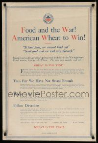 8c043 FOOD & THE WAR AMERICAN WHEAT TO WIN 19x29 WWI war poster 1918 if food fails we can't win!