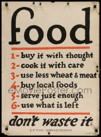 8c091 FOOD DON'T WASTE IT 21x29 WWI war poster '17 serve just enough & use what is left!