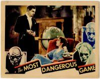 8f757 MOST DANGEROUS GAME LC '32 creepy Leslie Banks stares down at beautiful Fay Wray, rare!