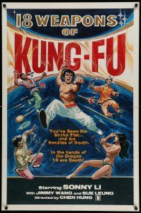8g004 18 WEAPONS OF KUNG-FU 1sh '77 wild martial arts artwork + sexy near-naked girl!