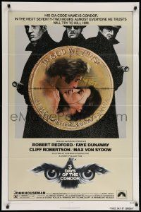 8g008 3 DAYS OF THE CONDOR 1sh '75 CIA analyst Robert Redford & Faye Dunaway!