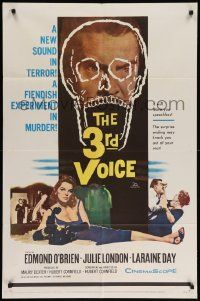 8g010 3rd VOICE 1sh '60 cool image of Edmund O'Brien in huge skull + sexy Julie London!