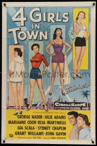 8g011 4 GIRLS IN TOWN 1sh '56 sexy Julie Adams, Marianne Cook, Elsa Martinelli & Gia Scala!