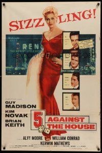 8g014 5 AGAINST THE HOUSE 1sh '55 great art of super sexy Kim Novak gambling in Reno Nevada!