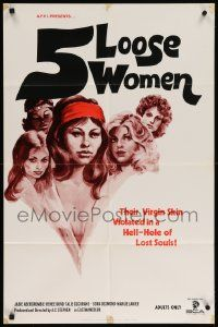 8g015 5 LOOSE WOMEN 23x35 1sh '74 Fugitive Girls, written by Ed Wood, sexy artwork!