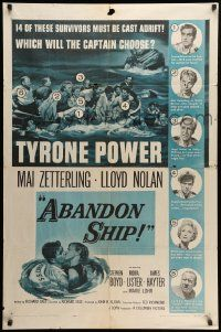 8g018 ABANDON SHIP 1sh '57 Tyrone Power & 25 survivors in a lifeboat which can hold only 12!