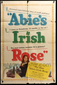 8g019 ABIE'S IRISH ROSE 1sh '46 Joanne Dru, Anne Nichols, most riotous, romantic hit!