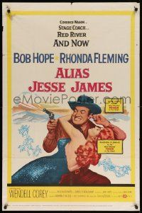 8g026 ALIAS JESSE JAMES 1sh '59 wacky outlaw Bob Hope & sexy Rhonda Fleming!