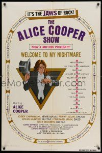 8g027 ALICE COOPER: WELCOME TO MY NIGHTMARE 1sh '75 it's the JAWS of rock, art of Alice Cooper!