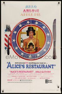 8g028 ALICE'S RESTAURANT 1sh '69 Arlo Guthrie, musical comedy directed by Arthur Penn, R-rated!
