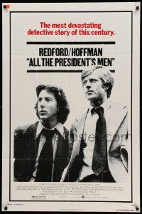 8g030 ALL THE PRESIDENT'S MEN 1sh '76 Dustin Hoffman & Robert Redford as Woodward & Bernstein!