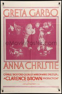 8g035 ANNA CHRISTIE 1sh R62 Greta Garbo, Charles Bickford, Clarence Brown directed!