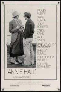 8g036 ANNIE HALL 1sh '77 full-length Woody Allen & Diane Keaton in a nervous romance!