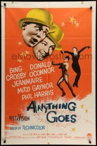 8g038 ANYTHING GOES 1sh '56 Bing Crosby, Donald O'Connor, Cole Porter!