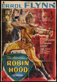 8g022 ADVENTURES OF ROBIN HOOD English 1sh R50s art of Errol Flynn & Olivia De Havilland!