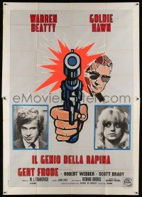 8j005 $ Italian 2p '71 great different art of bank robbers Warren Beatty & Goldie Hawn!
