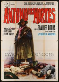 8j016 ANTONIO DAS MORTES Italian 2p '69 cool western art of cowboy with rifle over dead bodies!