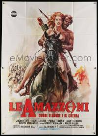 8j022 BATTLE OF THE AMAZONS Italian 2p '73 art of sexy naked female warrior Lucretia Love on horse!