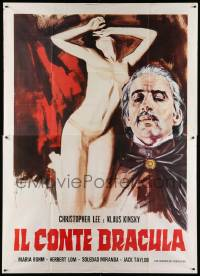 8j044 COUNT DRACULA Italian 2p R78 Jess Franco, different art of vampire Christoper Lee & sexy girl