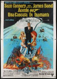 8j052 DIAMONDS ARE FOREVER Italian 2p '71 art of Sean Connery as James Bond 007 by Robert McGinnis!