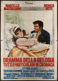 8j059 DRAMA OF JEALOUSY & OTHER THINGS Italian 2p '71 art of Mastroianni w/ Vitti in hospital bed!