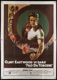 8j063 EVERY WHICH WAY BUT LOOSE Italian 2p '79 Bob Peak art of Clint Eastwood & Clyde the orangutan!