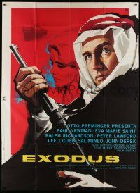 8j064 EXODUS Italian 2p R69 Otto Preminger, cool different art of Paul Newman w/rifle!