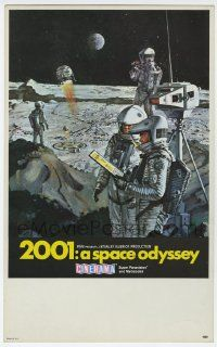 8s001 2001: A SPACE ODYSSEY Cinerama mini WC '68 Kubrick, art of astronauts on moon by Bob McCall!