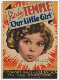 8s008 OUR LITTLE GIRL mini WC '35 great headshot of cute Shirley Temple with puckered lips!