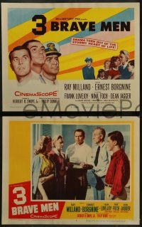 8w021 3 BRAVE MEN 8 LCs '57 Ray Milland, Ernest Borgnine, drama torn from the stormy heart of life!