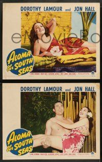 8w037 ALOMA OF THE SOUTH SEAS 8 LCs '41 wonderful images of Dorothy Lamour in sarong, Jon Hall