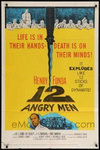 8y006 12 ANGRY MEN 1sh '57 Henry Fonda, Lumet courtroom jury classic, life is in their hands!