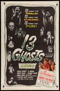 8y008 13 GHOSTS 1sh '60 William Castle, great art of the spooks, horror in ILLUSION-O!