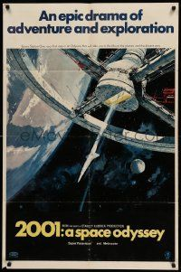 8y011 2001: A SPACE ODYSSEY 70mm style A 1sh '68 Stanley Kubrick, art of space wheel by Bob McCall!
