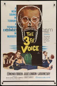 8y016 3rd VOICE 1sh '60 cool image of Edmund O'Brien in huge skull + sexy Julie London!