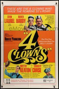 8y017 4 CLOWNS 1sh '70 Stan Laurel & Oliver Hardy, Buster Keaton, Charley Chase!