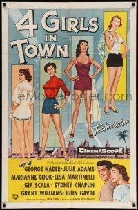 8y018 4 GIRLS IN TOWN 1sh '56 sexy Julie Adams, Marianne Cook, Elsa Martinelli & Gia Scala!