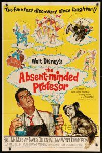 8y026 ABSENT-MINDED PROFESSOR 1sh R67 Walt Disney, Flubber, Fred MacMurray in title role!