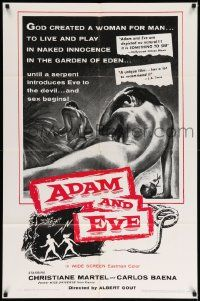 8y027 ADAM & EVE 1sh R68 sexiest art of naked man & woman in the Mexican Garden of Eden!