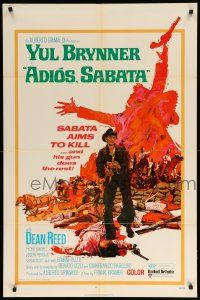 8y028 ADIOS SABATA 1sh '71 Yul Brynner aims to kill, and his gun does the rest, cool art!