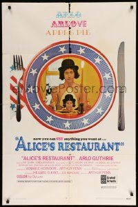 8y033 ALICE'S RESTAURANT 1sh '69 Arlo Guthrie, musical comedy directed by Arthur Penn, R-rated!