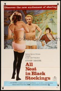 8y035 ALL NEAT IN BLACK STOCKINGS 1sh '69 Susan George, discover the excitement of sharing!