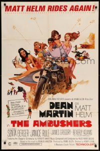 8y039 AMBUSHERS 1sh '67 art of Dean Martin as Matt Helm with sexy Slaygirls on motorcycle!