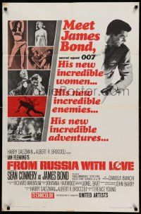 8y002 FROM RUSSIA WITH LOVE style A 1sh '64 Sean Connery is Ian Fleming's James Bond 007!