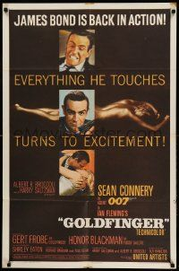 8y003 GOLDFINGER 1sh '64 images of Sean Connery as James Bond + golden Shirley Eaton, flat finish!