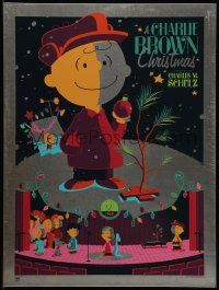8z131 CHARLIE BROWN CHRISTMAS signed #8/50 18x24 metal art print '11 by Tom Whalen, actual metal!