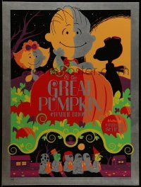 8z132 IT'S THE GREAT PUMPKIN, CHARLIE BROWN signed #17/20 18x24 metal art print '11 by Tom Whalen!