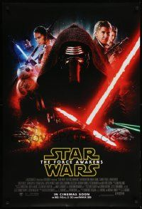 9c295 FORCE AWAKENS advance DS int'l 1sh '15 Star Wars: Episode VII, different montage, Kylo Ren!