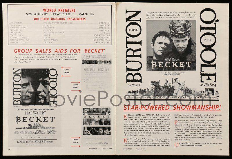 myydyin tuote suorituskykyiset urheiluvaatteet ennakkotilaus eMoviePoster.com Image For: 9d571 BECKET world premiere ...