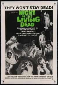 9f171 NIGHT OF THE LIVING DEAD linen 1sh '68 George Romero zombie classic, light green title design!